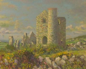 Douglas Hill Original Oil Painting Giew Tin Mine Cornwall